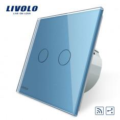 Intrerupator dublu cap scara / cap cruce wireless Livolo din sticla, Albastru