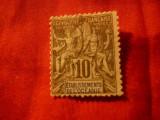 Timbru Oceania colonie franceza 1892 , val 10C negru si lila stampilat