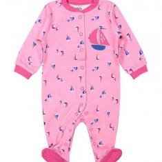 Salopeta / Pijama intreaga bebelusi cu capse Z03, 1-2 ani, 1-3 luni, 12-18 luni, 3-6 luni, 6-9 luni, 9-12 luni, Roz