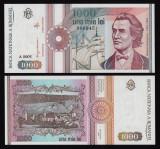Romania, 1000 lei 1991, UNC, fara punct la serie A 0005_000945