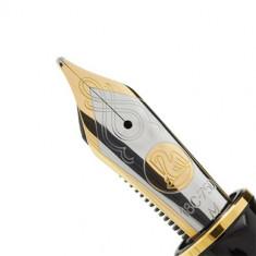 Stilou Pelikan Souveran M1000 M, penita aur 18K, accesorii placate cu aur 18K, corp negru-verde