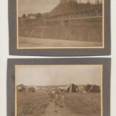2 Fotografii carton Dobrogea anii 1920 cetate, pod, satra de nomazi album sasesc