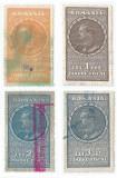 Romania, lot 334 cu 4 timbre fiscale generale, 1932, oblit., Stampilat