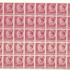 ROMANIA MNH 1945 - Uzuale Mihai I - fragment coala 500 L - 50 timbre
