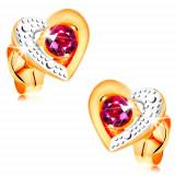 Cercei din aur 585 - rubin roz în contur bicolor de inimă, gravuri