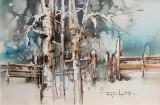 "Tablou, Autor: Mugur Popa, "" Peisaj de iarnai "", datat 2018, acuarela si tus pe hartie canson, Dim: 18 x 27 cm. - Mugur Popa"