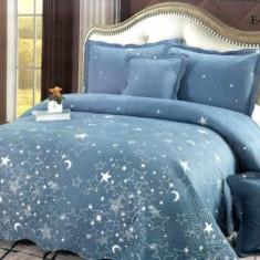 Cuvertură pat dublă, bumbac de finet, 5 piese, model Sleep