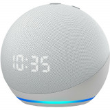 Boxa Portabila Echo Dot 4 Cu Ceas si Asistent Personal Alexa Glacier Alb, Amazon