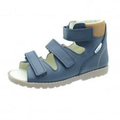 Sandale ortopedice din piele naturala pentru baieti Mrugala 1399B, Bleumarin
