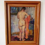 "Constanta NOREANU ""Nud cu spatele"", ulei/carton, realizat in relief- 62x48 cm, Impresionism"