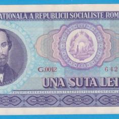 (7) BANCNOTA ROMANIA - 100 LEI 1966, PORTRET NICOLAE BALCESCU. STARE FOARTE BUNA