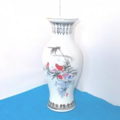 Vaza portelan, decor serigrafie cca. 1970 - Pasari - marcaj Jingdezhen China
