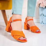 Sandale dama portocalii cu toc Uderia