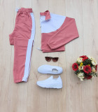 Cumpara ieftin Trening dama lung roz inchis cu alb cu pantaloni lungi si bluza cu maneca lunga fashion