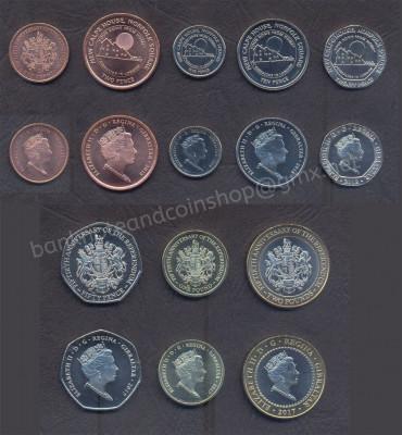 GIBRALTAR SET COMPLET MONEDE 1+2+5+10+20+50 Pence 1+2 Pounds 2017-2018 UNC foto