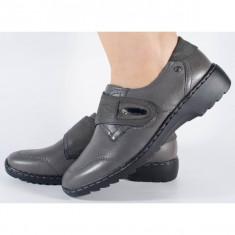 Pantofi Reflexan cu platforma gri din piele naturala (cod 80405-19)