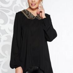Bluza dama StarShinerS neagra eleganta cu croi larg asimetrica din voal cu guler rotunjit cu insertii de broderie