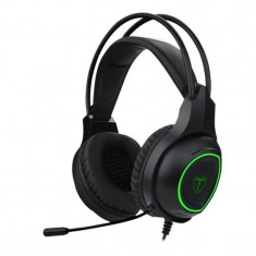 Casti Gaming T-DAGGER Atlas Black, Stereo, Iluminare verde, 2x Jack 3.5mm, TRS,...