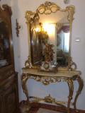 consola cu oglinda,antica/vintage,stil baroc/rococo/ludovic,lemn