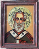Ionela Varga 1996 Icoana pictata pe sticla Sfântul Nicolae inramata