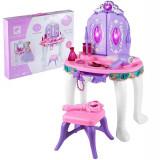 Masuta de machiaj pentru fetite cu sunete interactive si lumini, uscator de par si scaunel, 60 cm inaltime