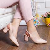 Pantofi Piele Sachita bej decupati