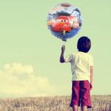 Balon Fulger McQueen Cars, folie metalizata, forma rotunda 45 cm, multicolor, PRC