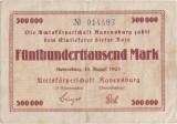 1923 (18 VIII), 500.000 mark - Germania (Ravensburg)!