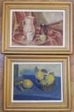 Macavei Radu 2 tablouri Natura statica cu gutui Natura moarta cu vase și fructe, Ulei, Realism