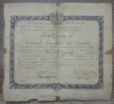 Diploma de inginer// Scoala Politechnica Bucuresti, 1929 foto