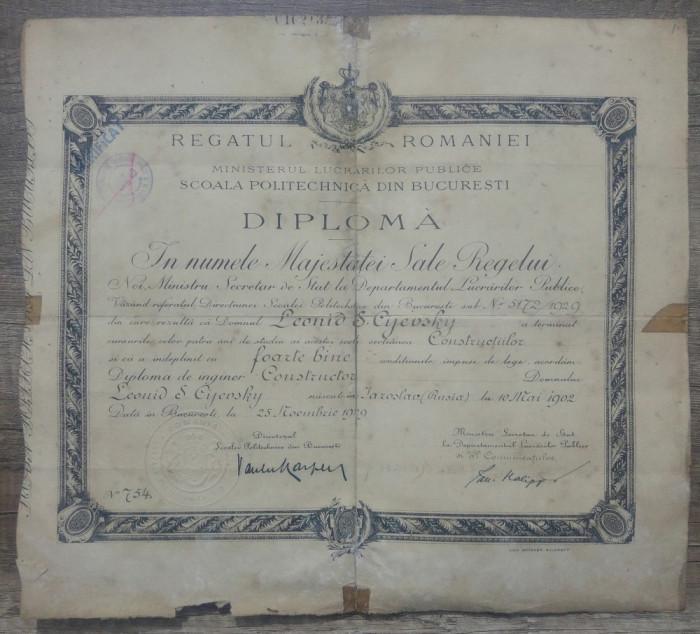 Diploma de inginer// Scoala Politechnica Bucuresti, 1929