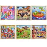 Set 6 Puzzle din lemn , in caseta de depozitare din lemn, 20x20 cm ,49 piese /puzzle