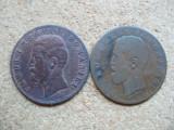ROMANIA - SET 5 BANI 1882 + 5 BANI 1883 , CAROL I , L 5.96