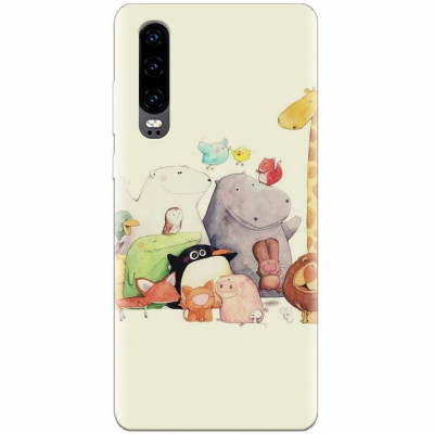 Husa silicon pentru Huawei P30, Cute Cartoon Animals foto
