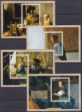 DB1  Pictura Flamanda Vermeer Ruanda  4  SS MNH ndt., Nestampilat