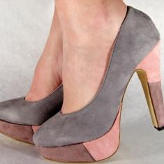 Pantofi gri casual pumps dama/femei cu toc (cod HA-015), 40