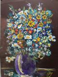 Tablou, ulei/carton subțire, Vas cu flori, Iosif Podesva, 21 x 29 cm