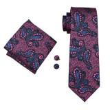Set cravata + batista + butoni matase naturala model negru cu roz 1696