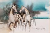 "Tablou, Autor: Mugur Popa, "" Familie de cai "" - "" The Holy Trinity "" datat 2018, acuarela si tus pe hartie canson, Dim: 18 x 27 cm. - Mugur Popa"