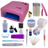 Kit unghii, lampa UV, tipsuri, gel constructie, carusel strasuri