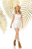 Pantalon scurt PrettyGirl alb casual mulat cu talie inalta din bumbac neelastic
