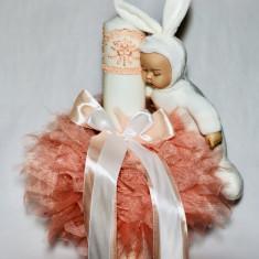 Lumanare pentru botez tip glob, 35X7 cm - Iepuras somnoros alb