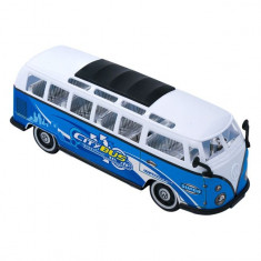 Masinuta de jucarie, model autobuz, alb/albastru, 29x10x11 cm