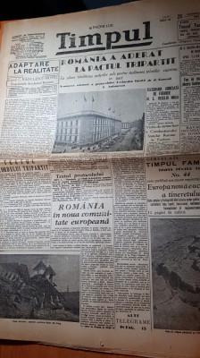 ziarul timpul 25 noiembrie 1940-romania a aderat la pactul tripartit,horia sima foto