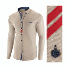 Camasa pentru barbati, maro deschis, slim fit, casual - Monument Pierre, L, M, S, XL, XXL