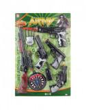 Set Arme Army cu pusca cu luneta ,pistoale, tinta si ventuza , Multicolor,38x57x4 cm, 8 piese, 5 ani +