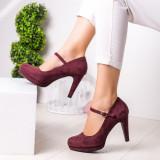 Pantofi dama cu toc visinii Gliva