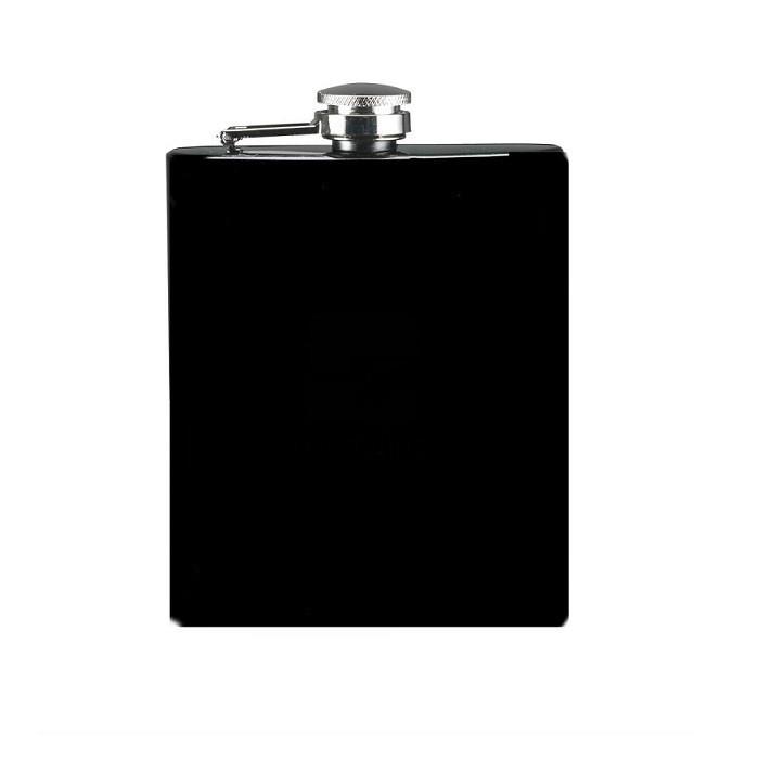 Plosca butelca metalica neagra, 200 ml