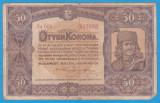 (2) BANCNOTA UNGARIA - 50 KORONA 1920 (1 IANUARIE1920) SERIA 5a003/623688