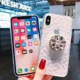 Husa Diamond silicon + Popsocket cu pietricele pt Iphone X , XS , XS Max